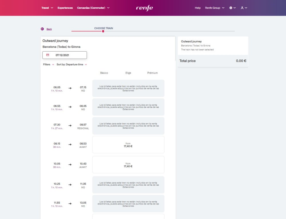 A list train times on the RENFE website, some parets ofg the text are not available in English yet