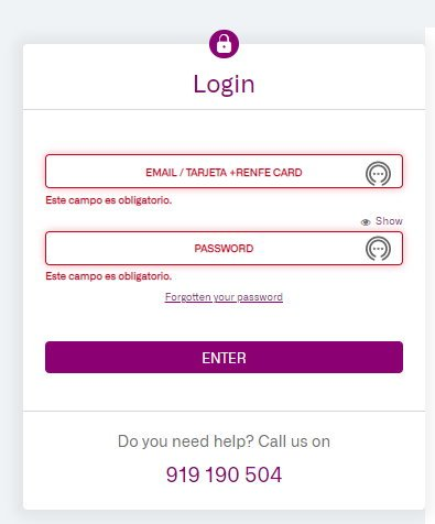 login page of the RENFE website
