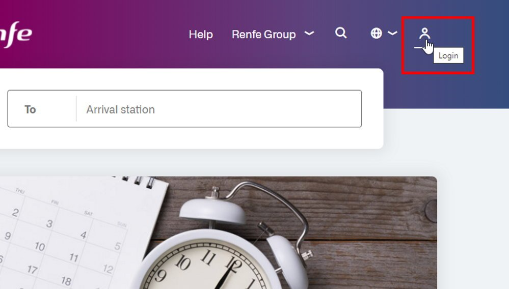Screenshot showing how to login to the RENFE website