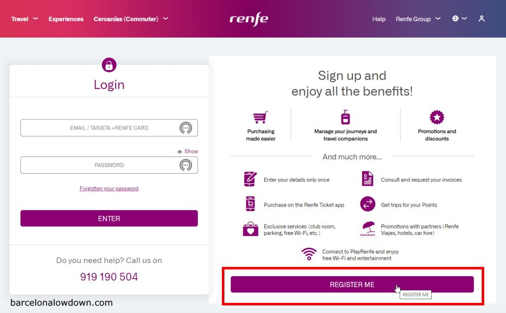 The page where you can log in or create an account for the RENFE website