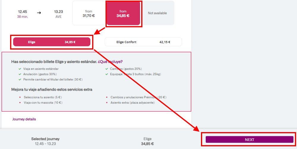 How to book a ticket on the RENFE website