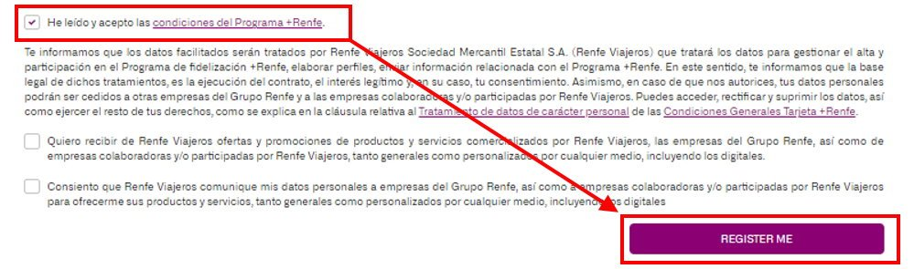 The terms and conditions of the RENFE website (Spanish only)