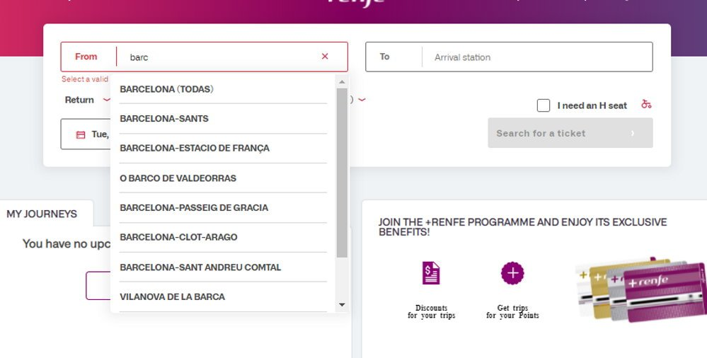 Spanish train timetables on the RENFE website
