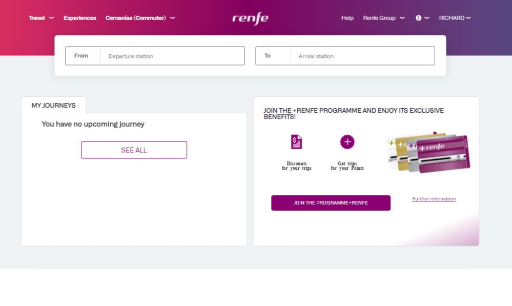 Search boxes on the RENFE website