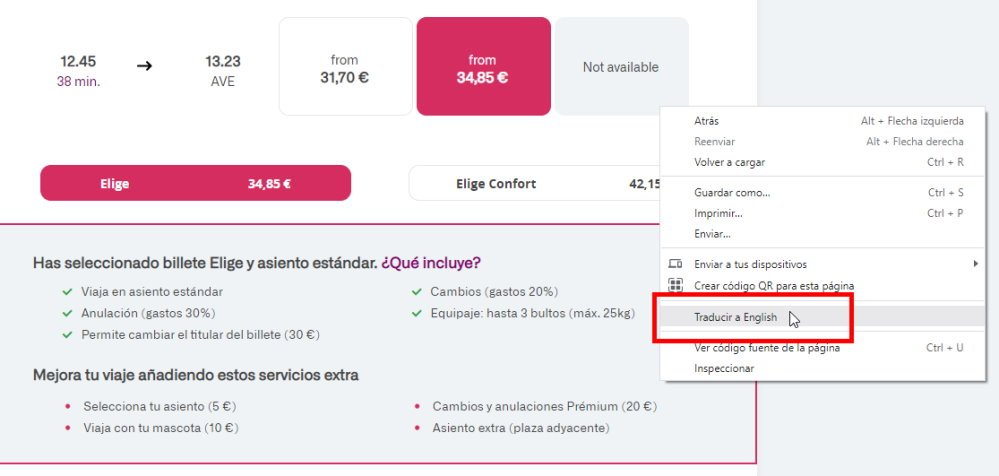 Screenshot showing how you can trace the Spanish sections of the RENFE website into English