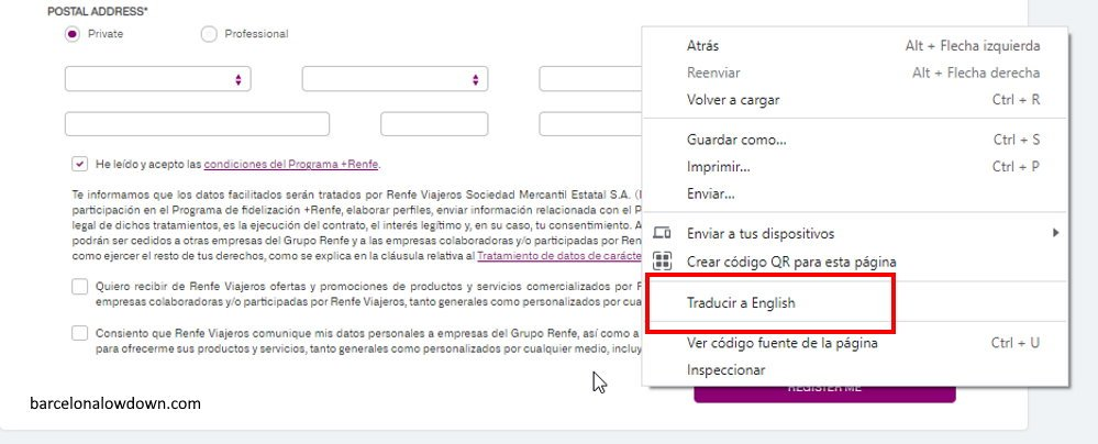 How to translate the terms and conditions page of the RENFE website