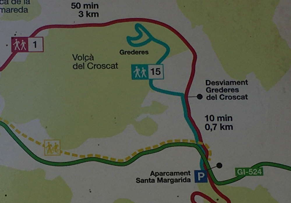 Map showing the hiking trail to the Croscat volcano near Olot, Spain